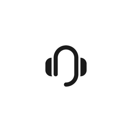 contact support icon design. headphone with mic symbol. simple clean professional business management concept vector illustration design.