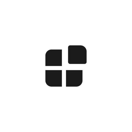 application icon design. four square with one box separate symbol. simple clean professional business management concept vector illustration design.