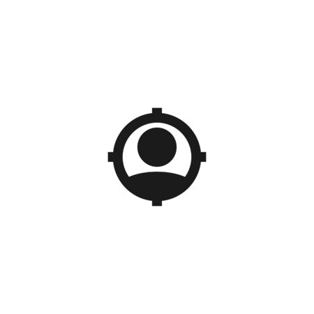 job vacancy looking new worker icon design. employee with aim target for hiring symbol. simple clean professional business management concept vector illustration design.
