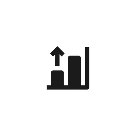 growing bar chart icon design with rising up arrow symbol. simple clean professional business management concept vector illustration design.
