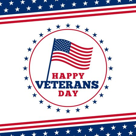 Simple happy veterans day badge poster background with usa america flag vector illustration ornament.