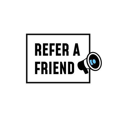 Refer a friend simple label design concept. megaphone icon with text vector illustration. Çizim