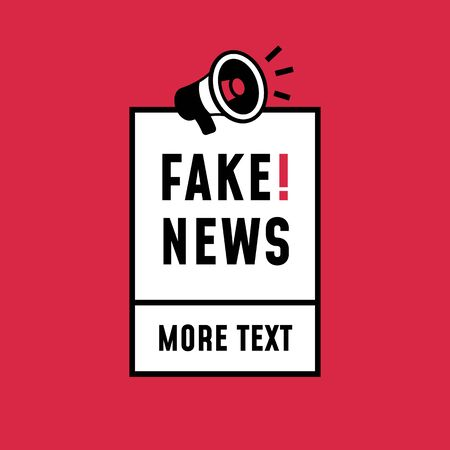 Fake news simple retro style sticker design. loudspeaker megaphone icon with text label for poster template.