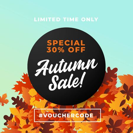 Autumn sale poster promotion background design with Fall dry leaves vector illustration