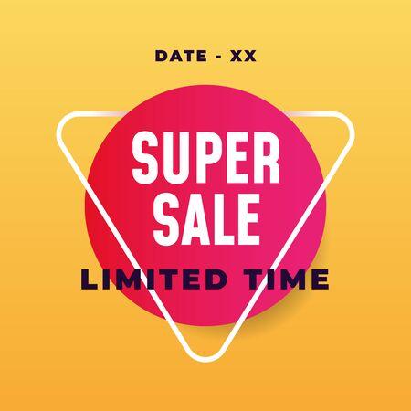 Super sale social media poster design promotion simple modern style vector design
