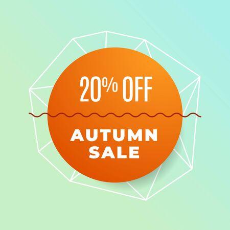 Simple minimal Autumn sale promotion background design with simple geometric illustration