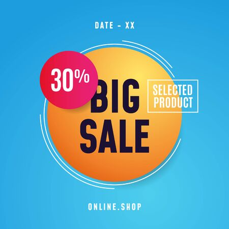 Big sale poster promotion vector design. Simple bubble badge design for social media event with modern style geometric element