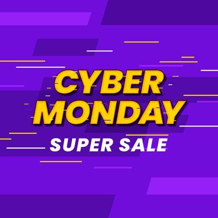 Cyber monday super sale poster background social media template vector illustration. Glitch effect typography on cyberspace vector illustration banner design. 일러스트