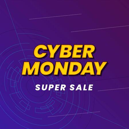 Cyber monday super sale poster background social media template vector illustration. modern effect typography on cyberspace vector illustration banner design.