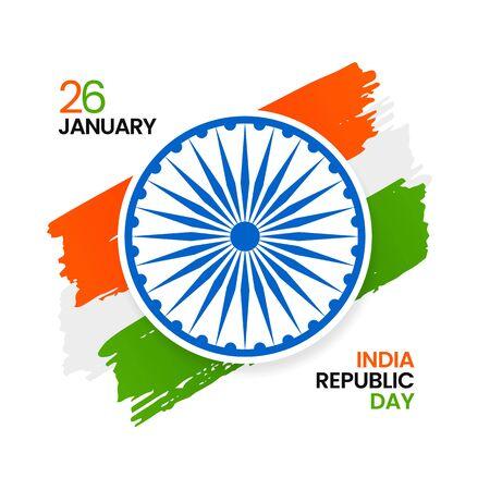 Indian Republic Day celebration poster design with tricolor india grunge flag background and ashoka chakra symbol vector illustration Illusztráció