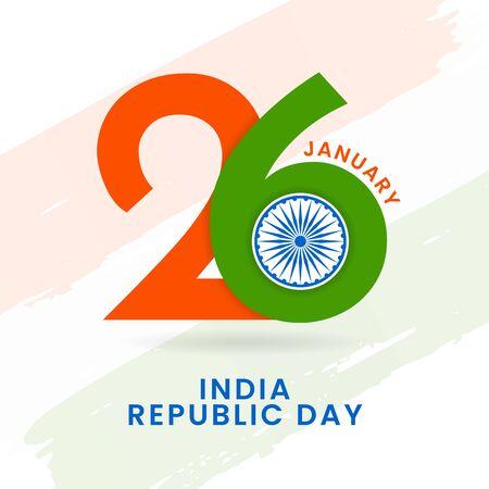 26 january indian republic day typography poster design with ashoka chakra symbol vector illustration and tricolor india flag background Illusztráció