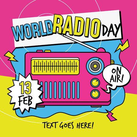 World Radio Day 90s pop art color style poster background design vector illustration Иллюстрация
