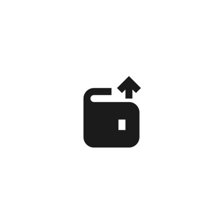 office expense money out icon design wallet with up arrow symbol. simple clean professional business management concept vector illustration design.