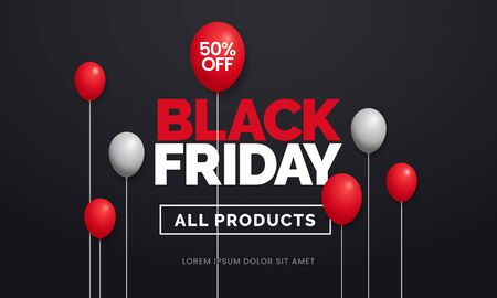 Black friday sale 50 off poster background social media promotion web banner template design with red balloon ornament on dark black backdrop wall vector illustration