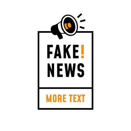 Fake News simple label vector. minimal retro style poster design for press media campaign. megaphone icon with minimal square frame and text.