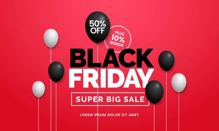 Black friday sale 50 off poster background social media promotion web banner template design with black balloon ornament on red backdrop wall vector illustration