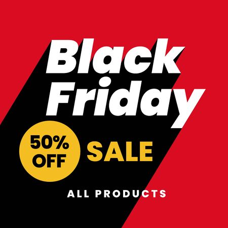 Black Friday 50 off sale modern social media poster background template. modern typography text with extrude long shadow style vector illustration