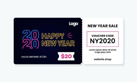 Neon style Happy New Year 2020 voucher gift template vector design with coupon code for shop discount promotion event