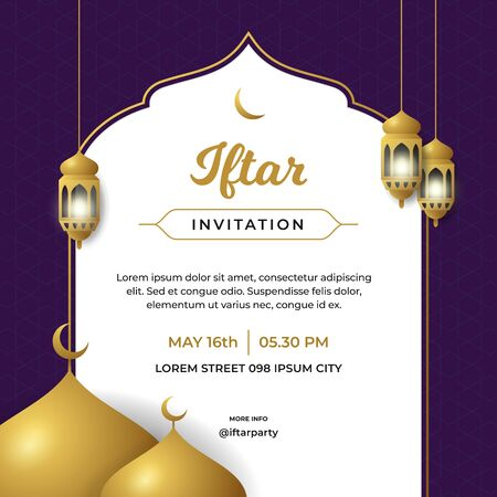 Iftar invitation flyer poster template design with great mosque background and islamic traditional lantern lamp vector illustration Vectores
