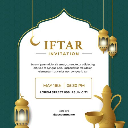 Iftar invitation flyer poster template design with islamic traditional lantern lamp and classic arabic teapot vector illustration