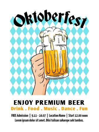 Oktoberfest flyer design. Munich beer festival with bavaria flag background. Full glass of beer hand drawn vector illustration. Banner, label, poster, invitation template.