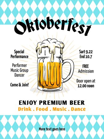 Oktoberfest flyer vector. Munich beer festival poster template. Retro style design with bavaria flag background, hand drawn full glass mug beer illustration. Banner, label, invitation vector. Иллюстрация