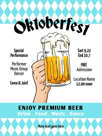 Oktoberfest poster vector. Munich beer festival flyer template. Retro style design with bavaria flag background, hand drawn full glass mug beer illustration. Banner, label, invitation vector.