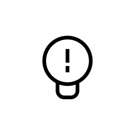 work idea icon design. light bulb with exclamation mark symbol. simple clean line art professional business management concept vector illustration design.