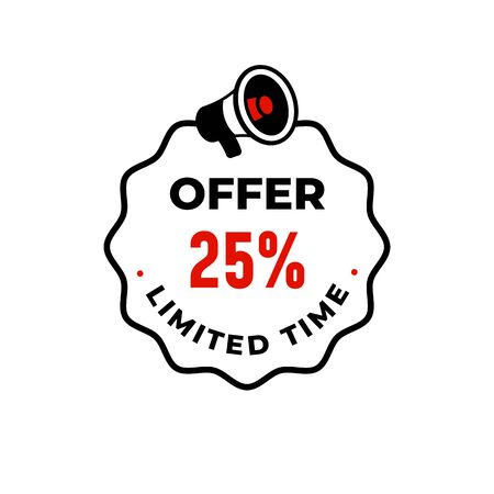 Offer 25% limited time discount logo badge design with megaphone icon illustration.