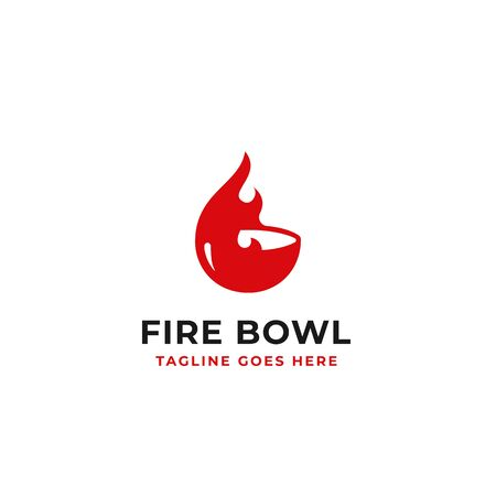 fire bowl simple creative logo design concept illustration Иллюстрация