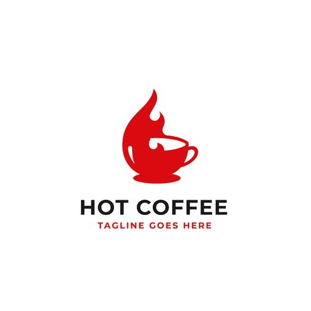 hot coffee logo design fire and cup element vector illustration