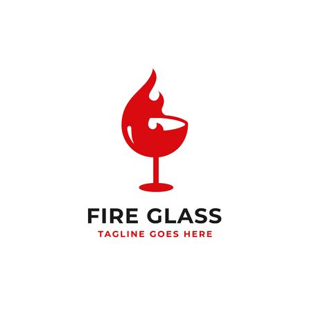 hot wine logo design fire and glass vector design