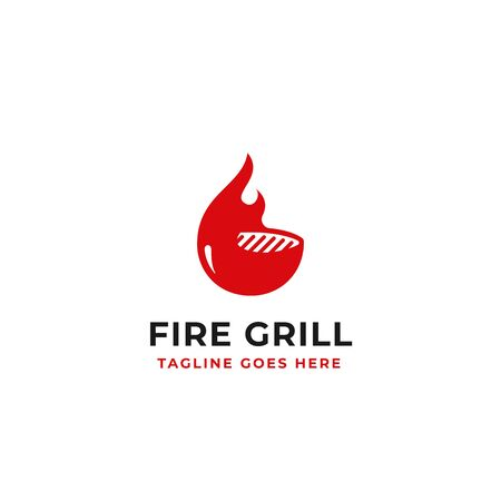fire grill logo design for beef restaurant brand identity concept vector illustration Иллюстрация