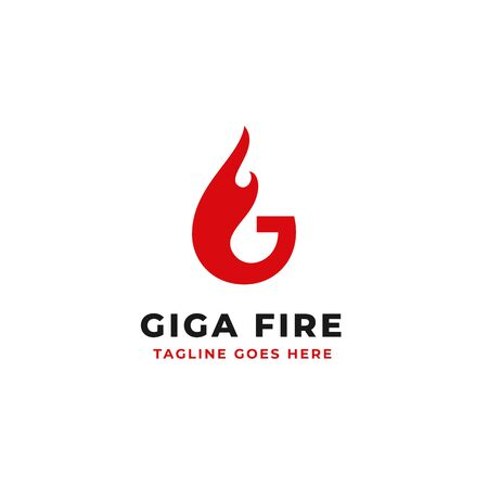 fire blazing illustration concept for letter G initial logo design vector