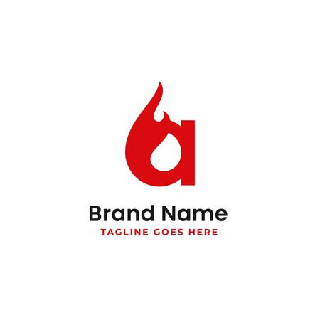 letter a burning logo design with fire vector illustration