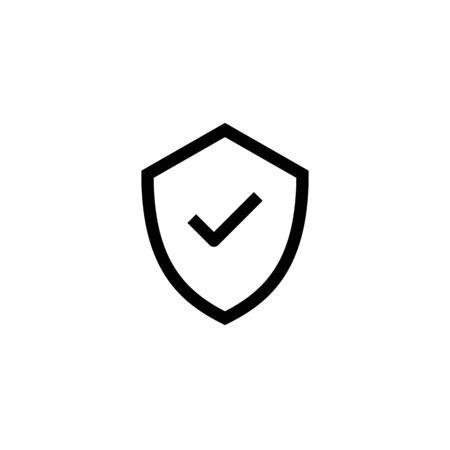 safe business icon design. shield with check mark symbol. simple clean line art professional business management concept vector illustration design. Иллюстрация