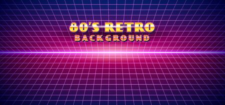 Retro futuristic 1980s style landscape background. 80s Sci-fi Cyber digital space surface grid with bright neon light effect horizon vector illustration Иллюстрация