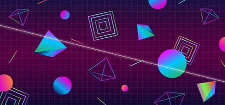 Futuristic retro 1980s style abstract cover banner design. 80s colorful gradient effect geometric polygon shape vector illustration with cyber space grid background