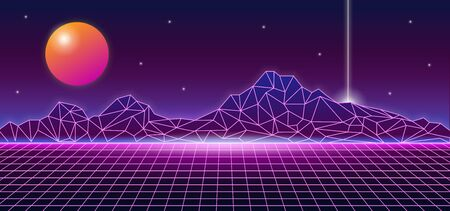 Retro futuristic 1980s style mountain landscape background glowing sun planet and vertical line laser. 80s Sci-fi digital space surface grid with bright neon light effect horizon vector illustration. Иллюстрация