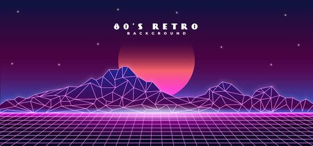 Retro futuristic 1980s style mountain landscape big sun planet background design. 80s Sci-fi digital space surface grid with bright neon light effect horizon vector illustration.