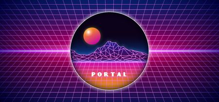 Futuristick 1980s style digital space isolated portal hole background. 80s space surface landscape view with grid background and glowing neon horizon vector illustration