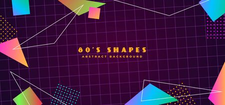Simple futuristic retro 1980s style abstract cover banner design. 80s colorful gradient effect geometry polygon shape with line vector illustration. Sci-fi cyber space grid background. Иллюстрация