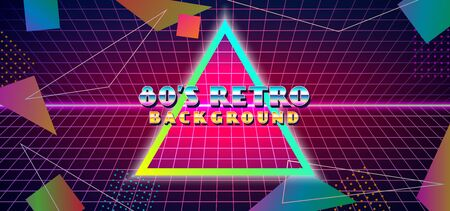 Futuristic retro 1980s style abstract cover banner design. 80s colorful gradient effect geometry shape vector illustration with cyber space grid and glowing neon horizon background Иллюстрация
