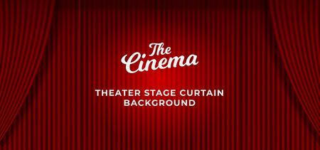 Theater stage red curtain background with spotlight overlay. clean closed curtain backdrop template vector illustration.