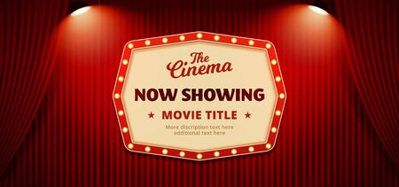 Now showing movie in cinema banner design. Old classic Retro theater billboard sign on theater stage red curtain backdrop with double spotlight vector illustration background template. Иллюстрация