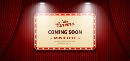 Coming Soon movie in cinema banner design. Old classic Retro theater billboard sign on red theater stage curtain backdrop with double bright spotlight vector illustration background template. Reklamní fotografie - 148126592