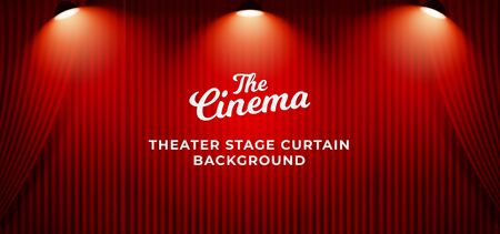 Theater stage red curtain background with triple bright spotlight on the top. clean closed curtain backdrop template vector illustration.