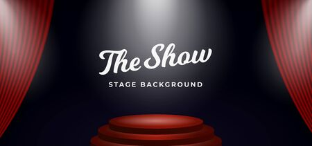 minimal stage podium spotlight with open theater curtain backdrop vector illustration background template