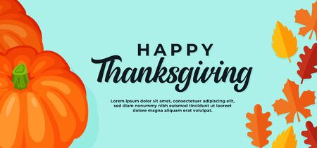Happy thanksgiving day background. pumpkin illustration with fall dry leaves vector illustration banner template.