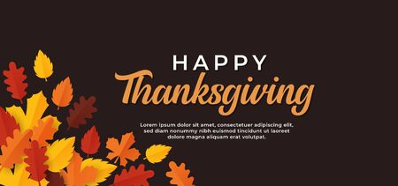 Happy thanksgiving day text minimal background with dry fall leaves vector illustration. Иллюстрация